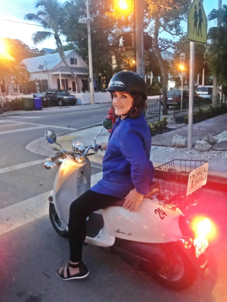 K.T. exploring Key West on moped